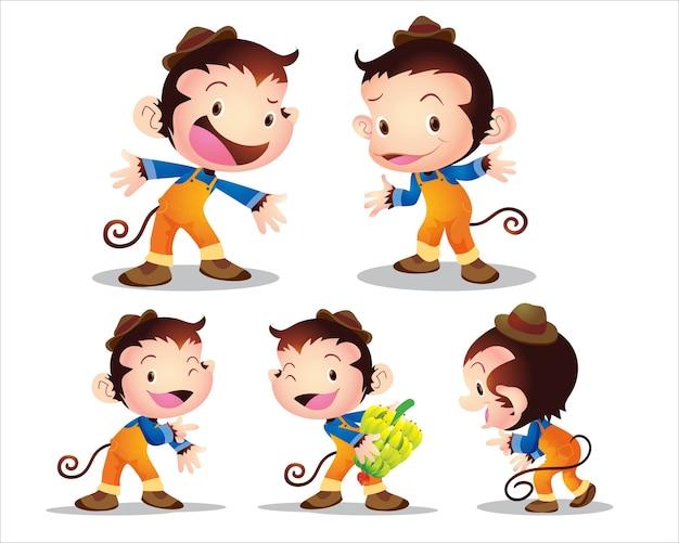 Personnage de travailleur singe