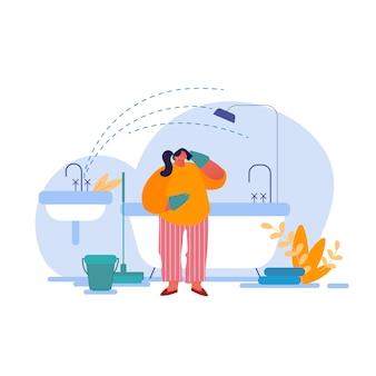 Personnage triste de femme au foyer dans des gants en caoutchouc