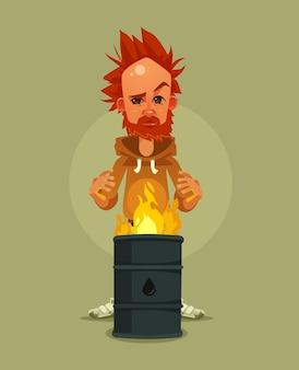 Personnage triste malheureux sans-abri fatigué se réchauffe près de l'illustration de dessin animé d'ordures en feu