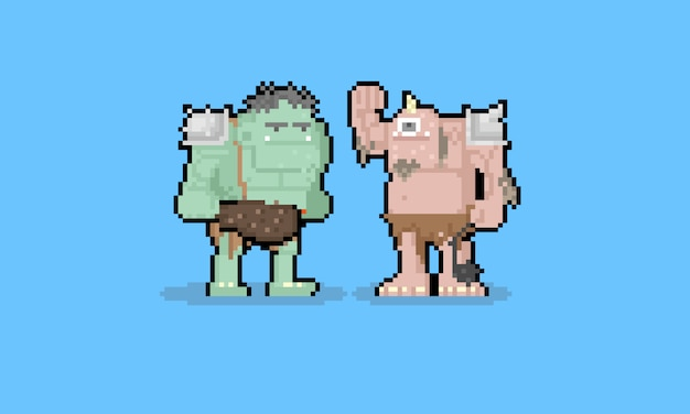 Personnage de troll de dessin animé de pixel art.