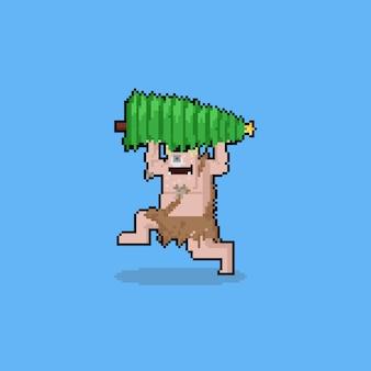 Personnage de troll heureux dessin animé art pixel avec arbre de noël.