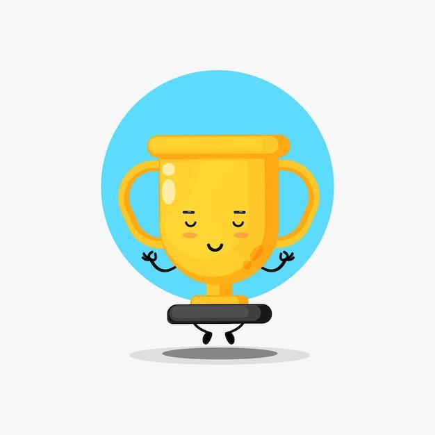 Personnage de trophée mignon méditant dans une pose de yoga
