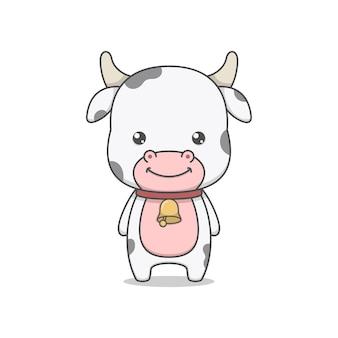 Personnage de vache mignon portant un collier cloche