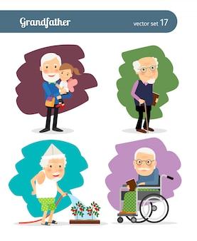 Personnage de vecteur de dessin animé de grand-père