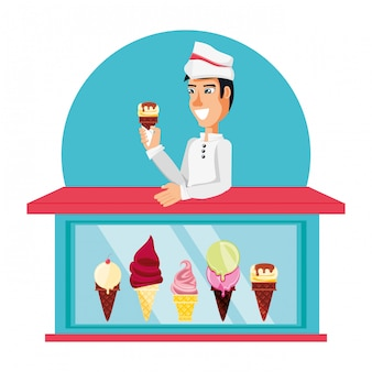 Personnage de vendeur de crème glacée