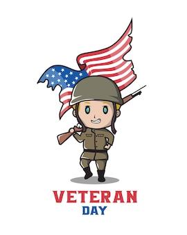 Un personnage vétéran des états-unis accueillera la journée des vétérans
