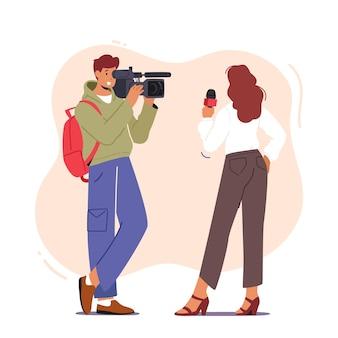 Personnage vidéaste ou caméraman avec caméra