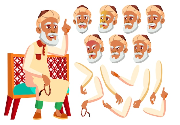 Personnage de vieil homme. arabe. création constructeur pour l'animation. face aux émotions, les mains.