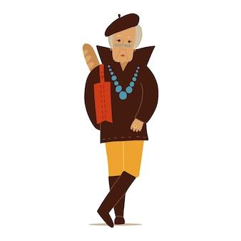 Personnage de vieille dame élégante de mode femme âgée portant des vêtements à la mode