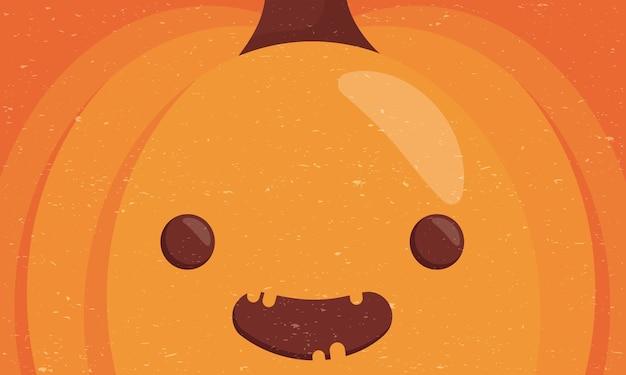 Personnage de visage de citrouille mignon halloween heureux