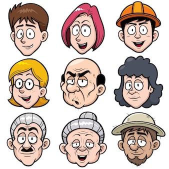 Personnage de visage de dessin animé