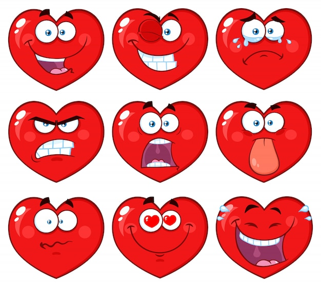 Personnage de visage emoji dessin animé coeur rouge