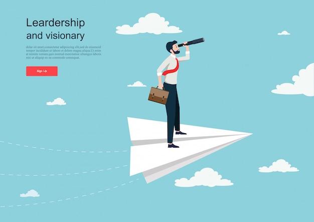 Personnage volant sur avion en papier. concept d'entreprise de vision. modèle de fond