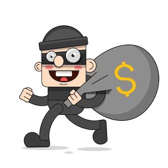 Personnage de voleur mignon. illustration de dessin animé de vecteur. bandit avec sac. voleur dans le masque
