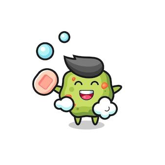 Le personnage de vomi se baigne tout en tenant du savon, un design de style mignon pour un t-shirt, un autocollant, un élément de logo