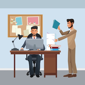 Personnages d'affaires dans la scène de bureau