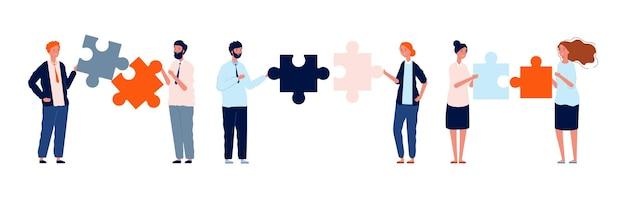 Personnages d'affaires de travail d'équipe. homme femme tenant des pièces de puzzle, illustration vectorielle de collaboration. solution de puzzle de travail d'équipe, partenaire d'homme d'affaires et équipe