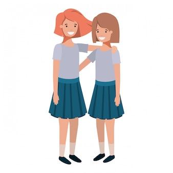 Personnages amicaux de filles adolescentes