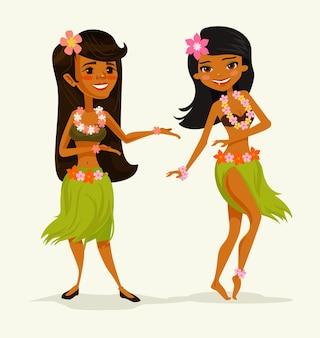Personnages d'amis de la femme danseuse hawaïenne