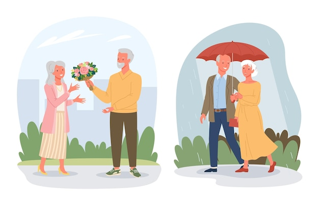 Personnages amoureux retraités retraités de dessin animé assis ensemble sur la plage de la mer marchant sous la pluie isolée