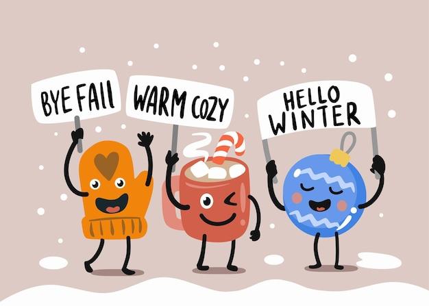 Des personnages amusants disent adieu à l'hiver.