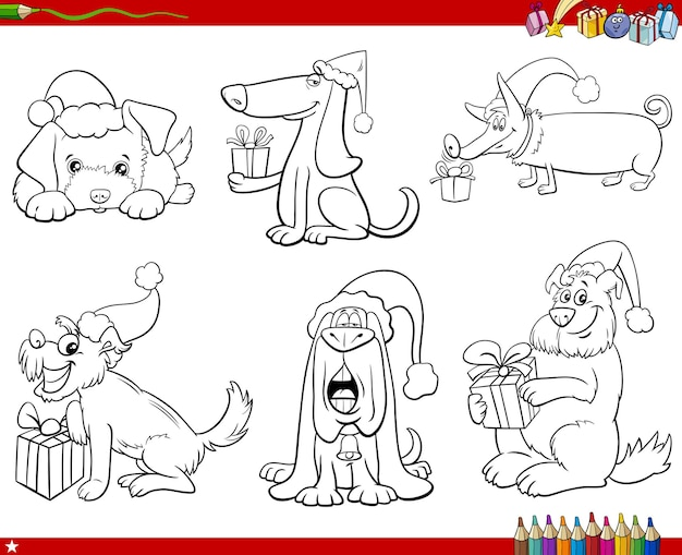 Personnages d'animaux de chiens de dessin animé sur la page de livre de coloriage de jeu de temps de noël