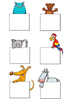 Personnages animaux de dessin animé avec collection de cartes