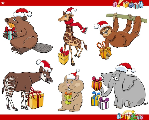 Personnages d'animaux de dessin animé sur l'ensemble de l'heure de noël