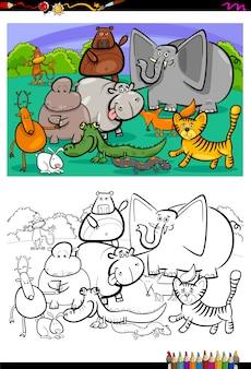 Personnages animaux dessin animé livre de coloriage