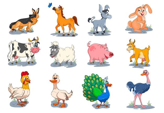 Personnages d'animaux de ferme grand ensemble d'animaux ruraux de dessins animés. cheval, cochon, canard, poulet, lièvre, autruche, vache, chèvre, paon, âne, mouton, chien. illustration pour enfants. pour la décoration et le design.
