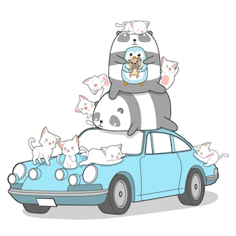 Personnages d'animaux kawaii et voiture.
