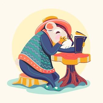 Personnages animaux, lecture de livres vector illustration. rat de bibliothèque hamster