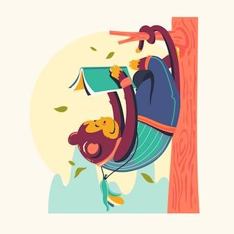 Personnages animaux, lecture de livres vector illustration. rat de bibliothèque singe