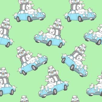 Personnages animaux sans couture kawaii et modèle de voiture.