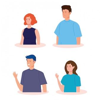 Personnages d'avatar de jeunes