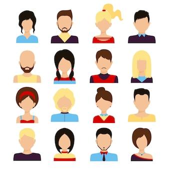 Personnages avatar mâle et femelle visage humain réseau social icônes ensemble isolé illustration vectorielle