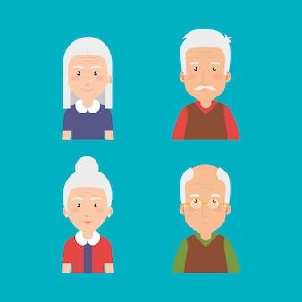 Personnages avatars de groupe de grands-parents