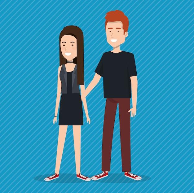 Personnages d'avatars jeune couple