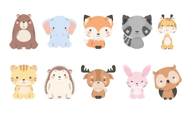 Personnages de bande dessinée mignons de dix animaux