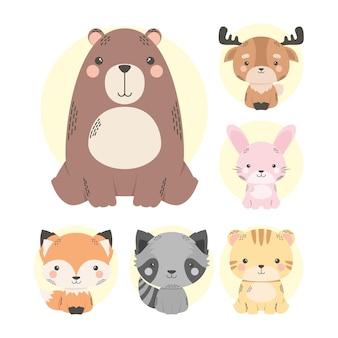 Personnages de bande dessinée mignons six animaux