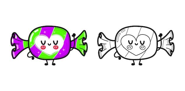 Les personnages de bonbons heureux mignons drôles décrivent l'illustration de dessin animé pour le livre de coloriage