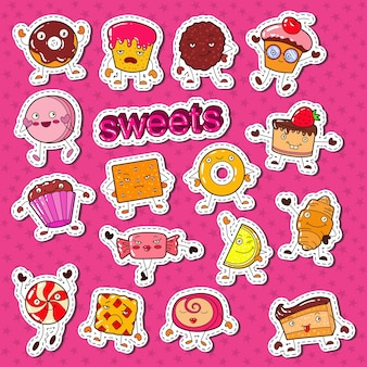 Personnages de bonbons sucrés mignons doodle avec cookie