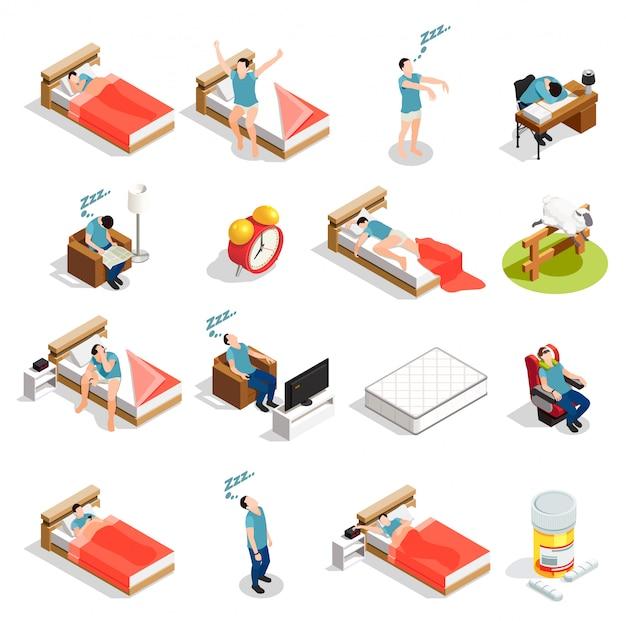 Personnages en bonne santé sommeil et troubles