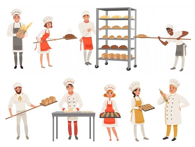 Personnages de boulangers avec du pain et des ustensiles de cuisine.