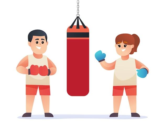 Personnages de boxe couple mignon