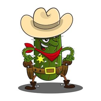 Personnages de cactus cowboy prêts à se battre en duel avec une caricature de pistolet.