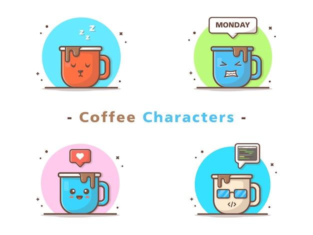 Personnages de café mignons