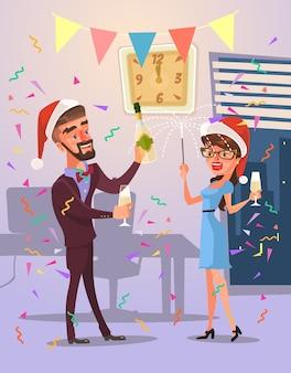 Les personnages célèbrent joyeux noël et bonne année