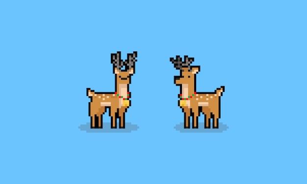 Personnages de cerfs de pluie de noël dessin animé pixel art