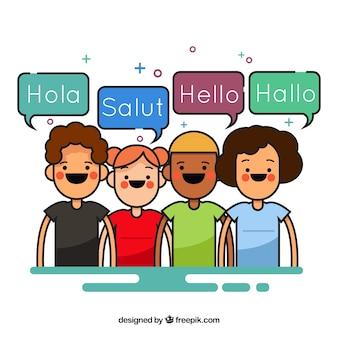 Des personnages charmants parlant des langues différentes